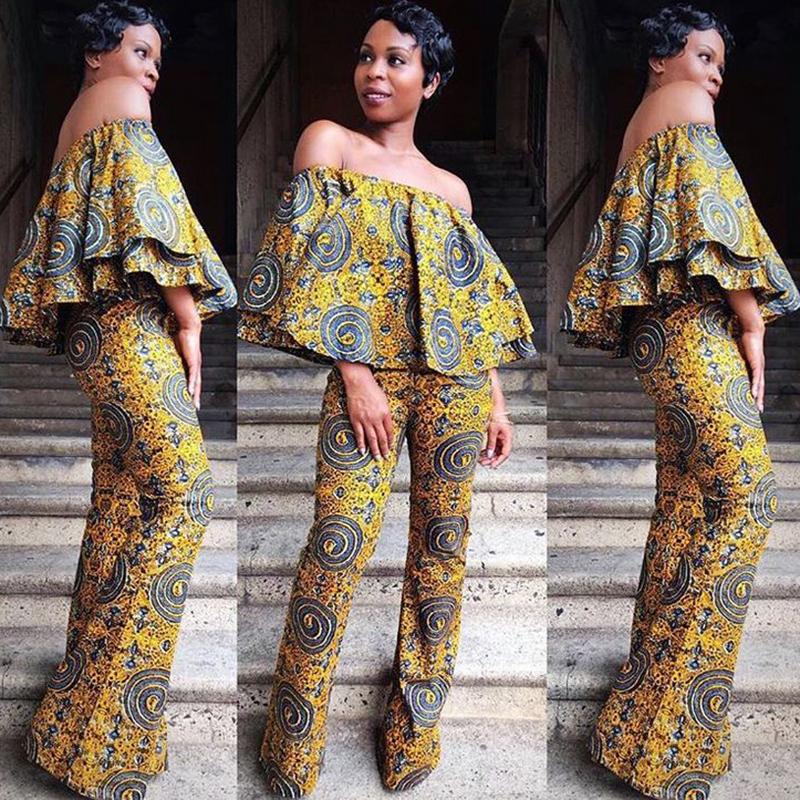 African Women Jumpsuits Off Shoulder Kitenge Fashion