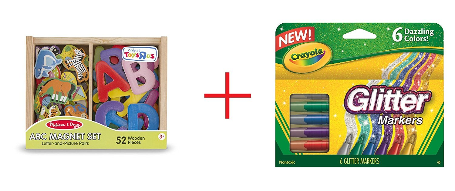 Melissa & Doug ABC and Animal Magnet Set and Crayola 6-Count Glitter Markers - Bundle