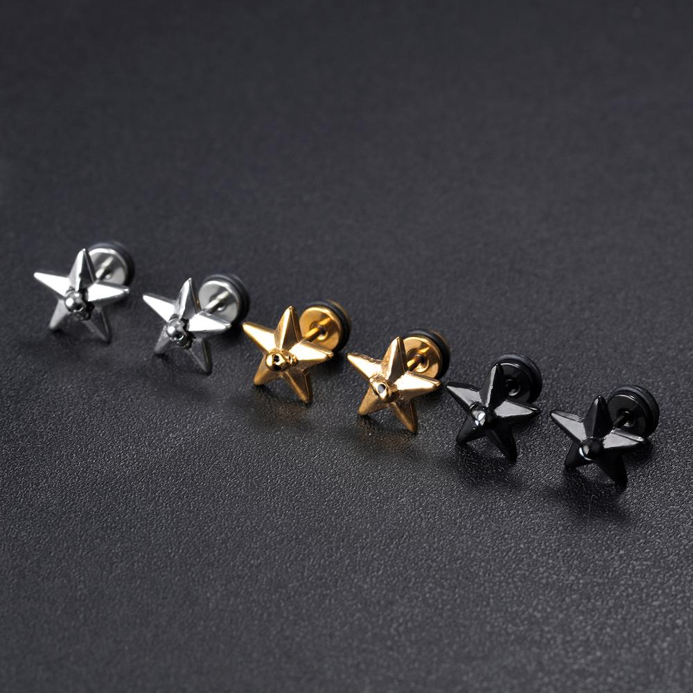 Custom Men Star Design Stainless Steel Zircon Black Stud Earring