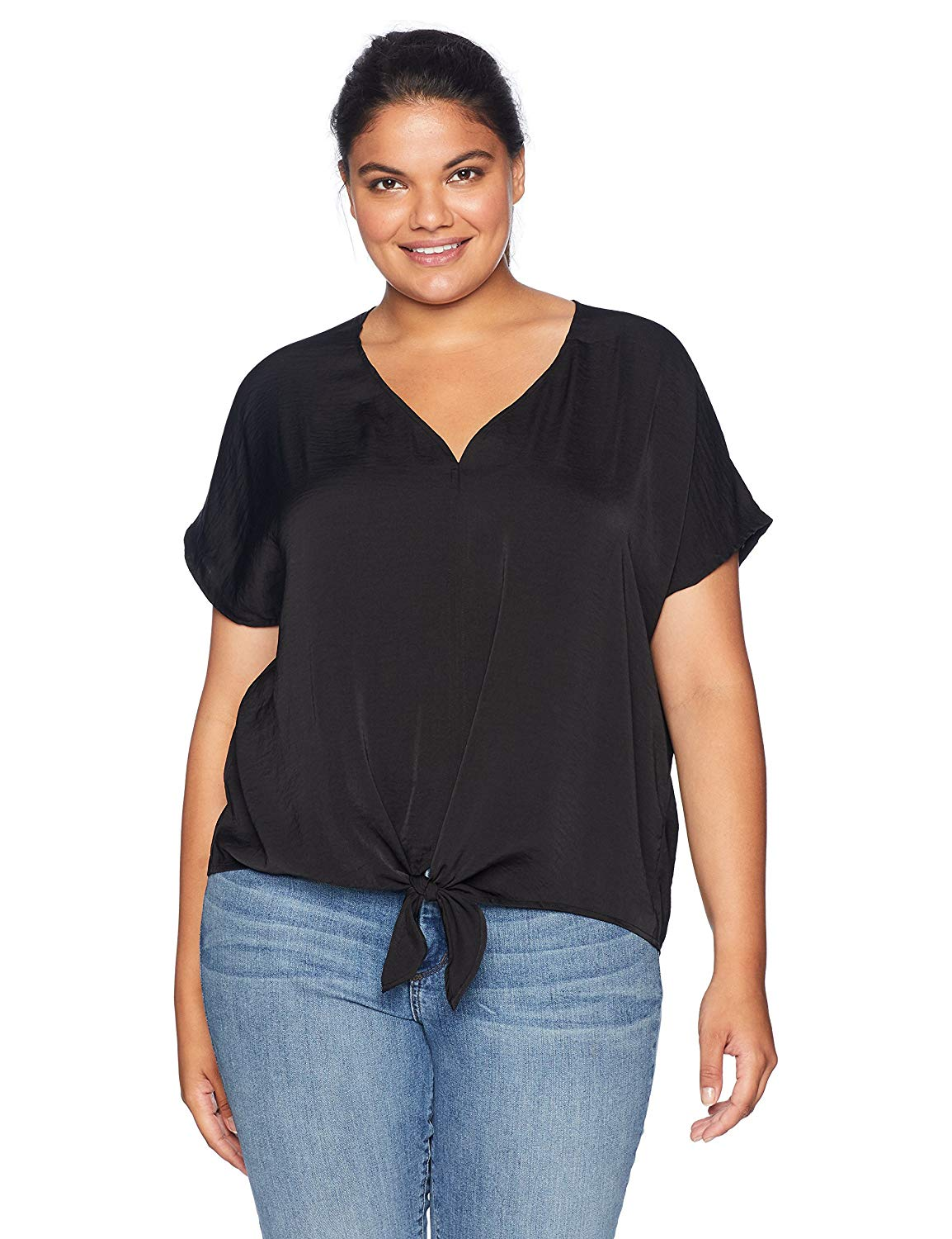 ddd981d9a8b74 Get Quotations · Lucky Brand Women's Size Plus Tie Front Top