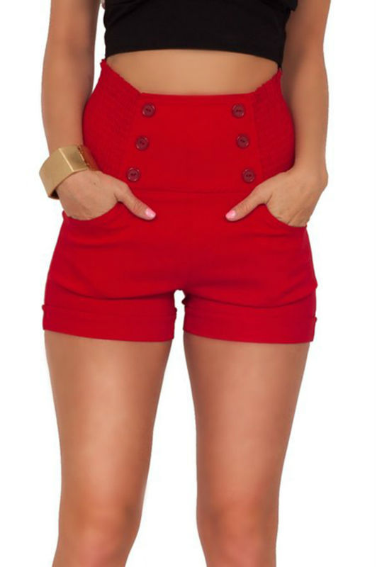 eadceebaa0 OEM supplier High Waisted Sophisticated Trendy Chic Front Button Vintage  Inspired women board Shorts