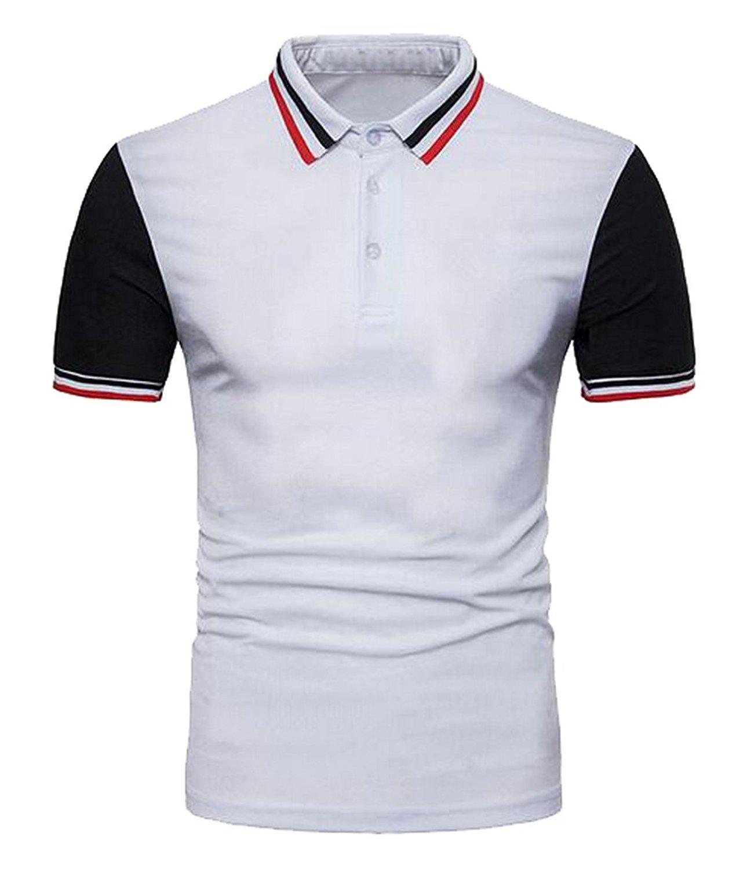 006f4363b5b Get Quotations · LD Mens Casual Business Color Block Stripe Short Sleeve  Polo Shirt T-Shirt