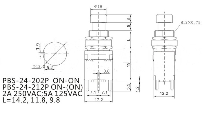 Detail Feedback Questions about DPDT 6Pins ON (ON) PBS 24