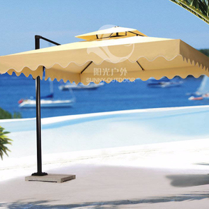 3*3m side post umbrella with crank beach parasol with marble base