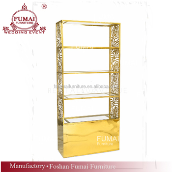 High Metal Back Bar Carved Stainless Steel Gold Shelves