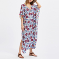 All over floral print pom pom trim maxi cotton beach dresses