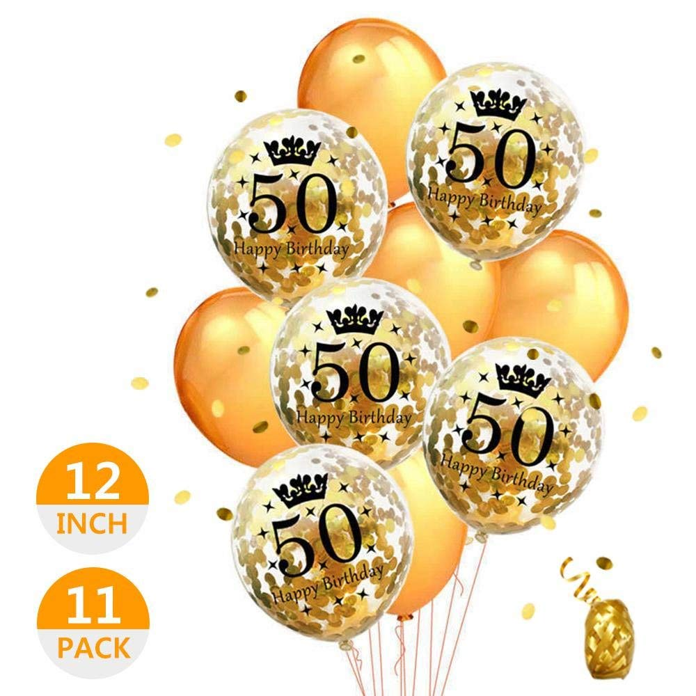 afec85c5bb18 Aolvo 50th Birthday Balloons for Men 12 inch Gold Balloons Round Memorial  Balloons Happy Birthday Balloons
