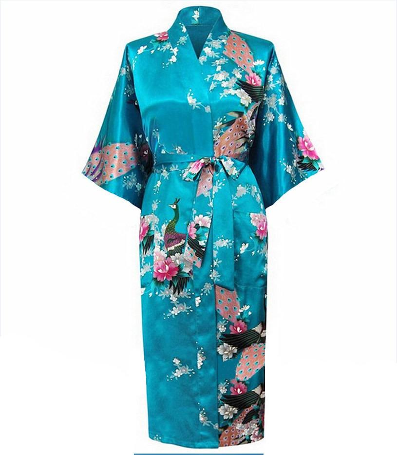 כחול נקבה דמוית משי החלוק Mujer Pijama סין סגנון בנות הלבשת לילה קימונו קיץ אמבטיה שמלה בתוספת גודל sml XL XXL XXXL S0031