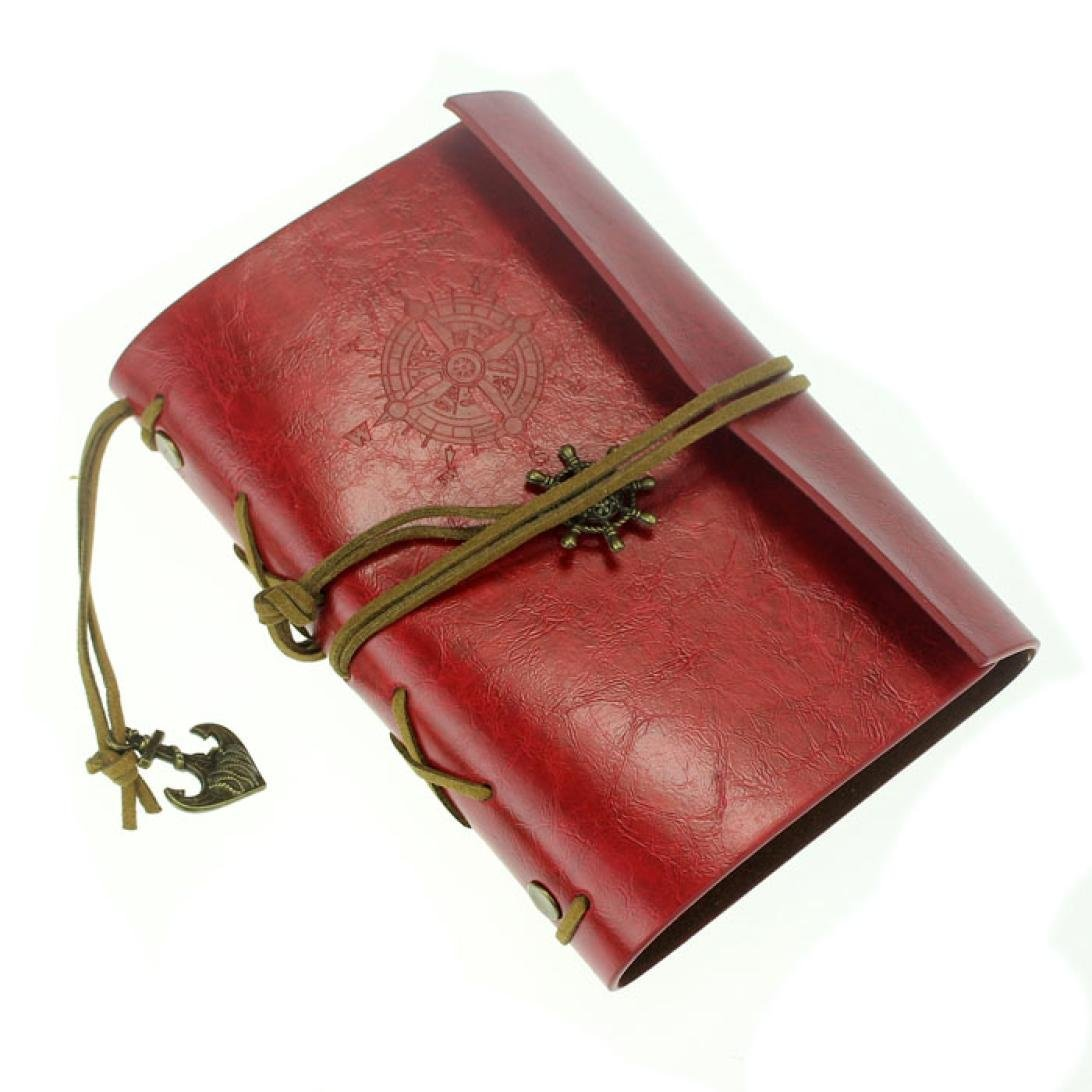 Leather Notebook, Keepfit Vintage Leather Blank Retro Journal Writing Diary Leather Bound Note Book daily Notepad for Sketchbook, Travel Diary (Red)