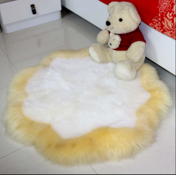 Soft Hairy Carpet Sheepskin Chair Cover Seat Pad Plain Skin Fur Plain Fluffy Area Rugs Washable Bedroom Round Sheepskin Rugs