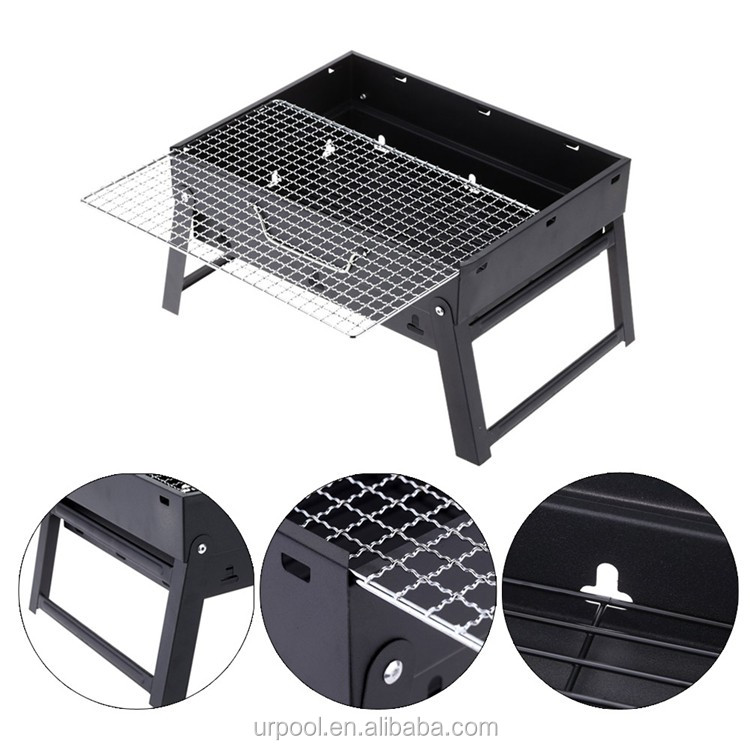 Bbq Tool Set Steel Folding Compact Portable Charcoal Grill Outdoor Camping Cooker Smoker