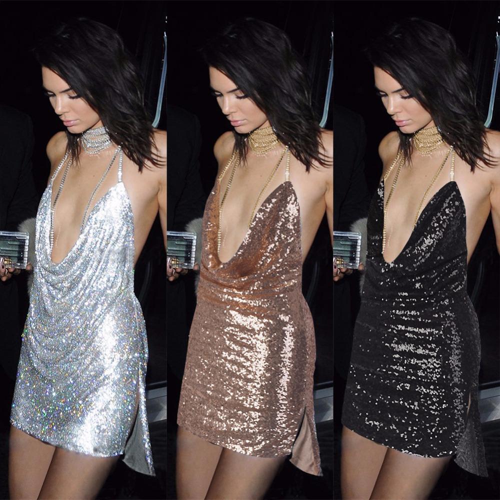5101f4e85c Espagueti Vestidos Cortos de Lentejuelas Profundo Escote en v Vestido de  Noche Sexy Vestido de Las