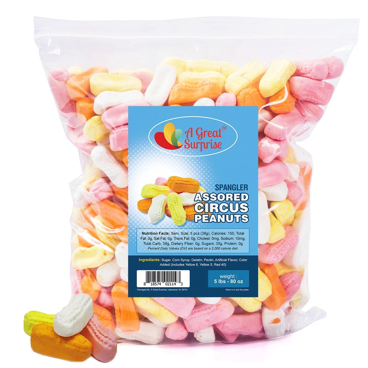 Marshmallow Circus Peanuts - Spangler Circus Peanuts Candy, Circus Peanuts Assorted Flavors, 5 LB Bulk Candy