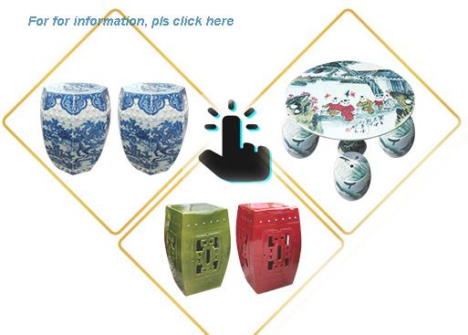 New Design Black Star Anise Chinese Ceramic Stool for Garden Furniture