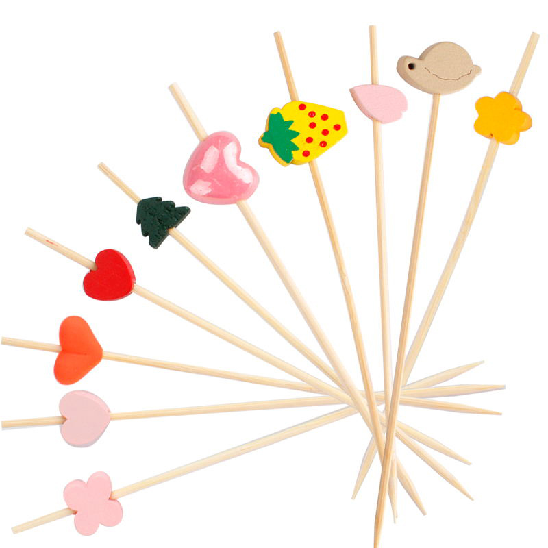 Disposable Colorful Heart Shape Bead <strong>Bamboo</strong> Bbq <strong>Decorative</strong> Cocktail Skewer <strong>Sticks</strong>