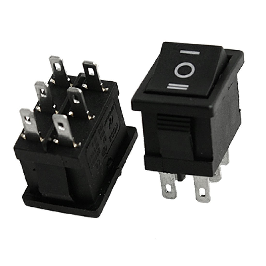 10 Pcs ON-OFF-ON DPDT 10A/125V 6A/250V AC toggle illuminated toggle 2 pin 2 pole black electric electrical Snap In Rocker ON OFF ON DPDT Snap Rocker Switch