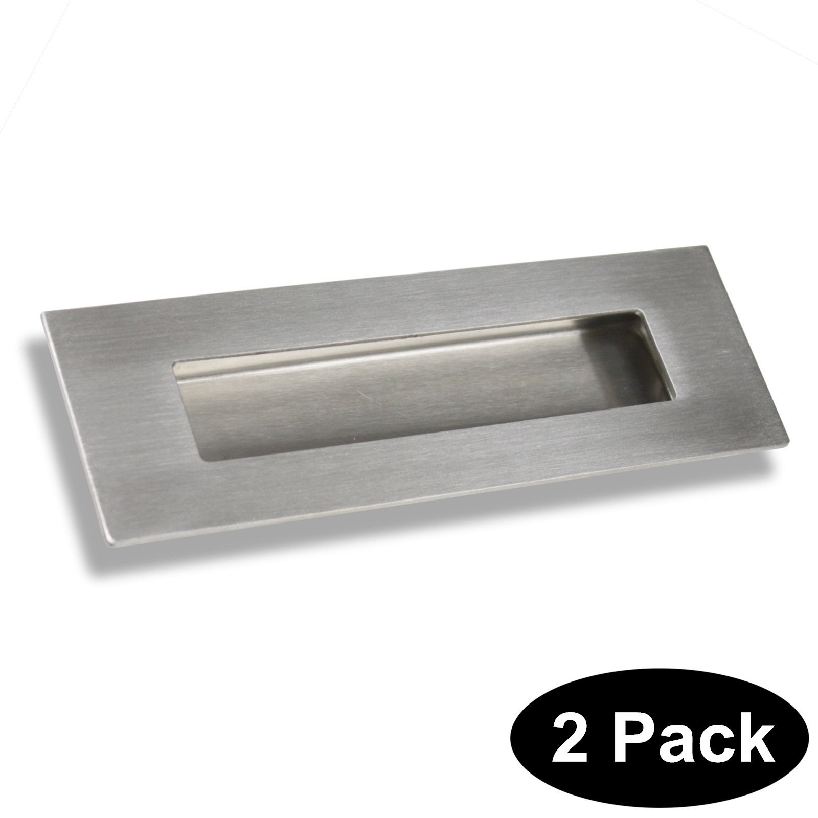 6 in Rectangular Recessed Sliding Door Handles Finger Pulls Flush 304# Stainless Steel 2 Pack