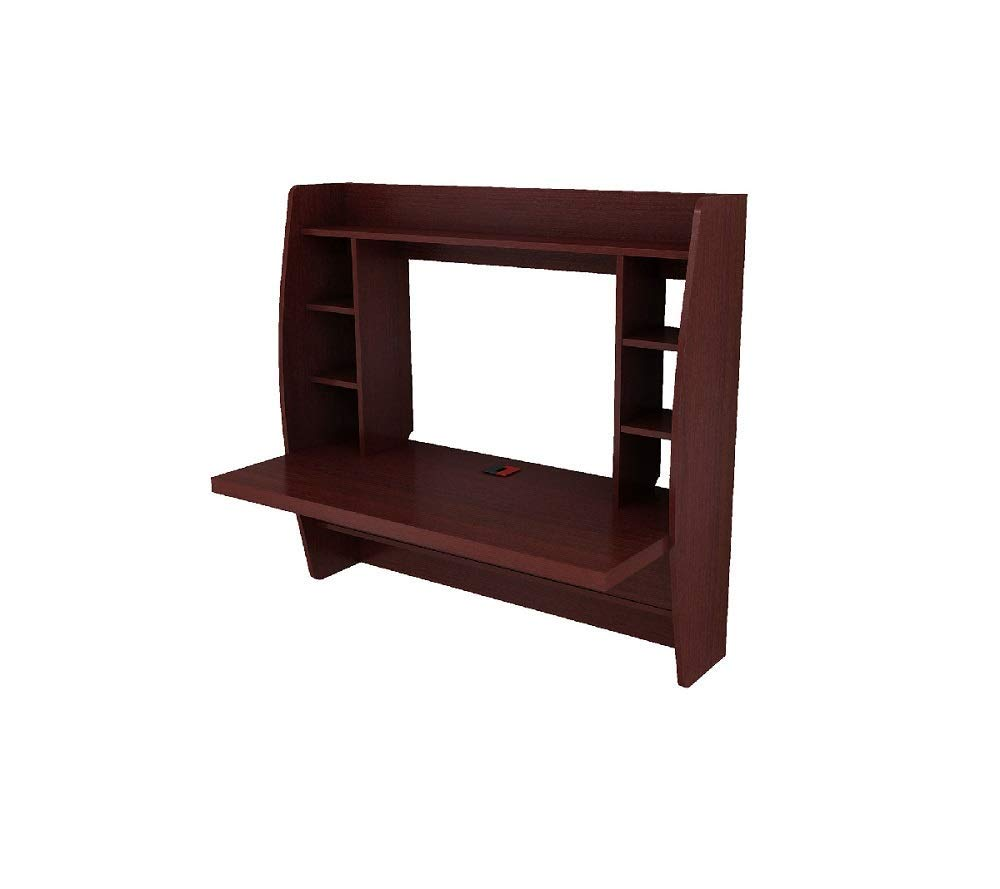 Wall Mount Floating Two Shelf Computer Desk Storage Laptop Computer Home Walnut