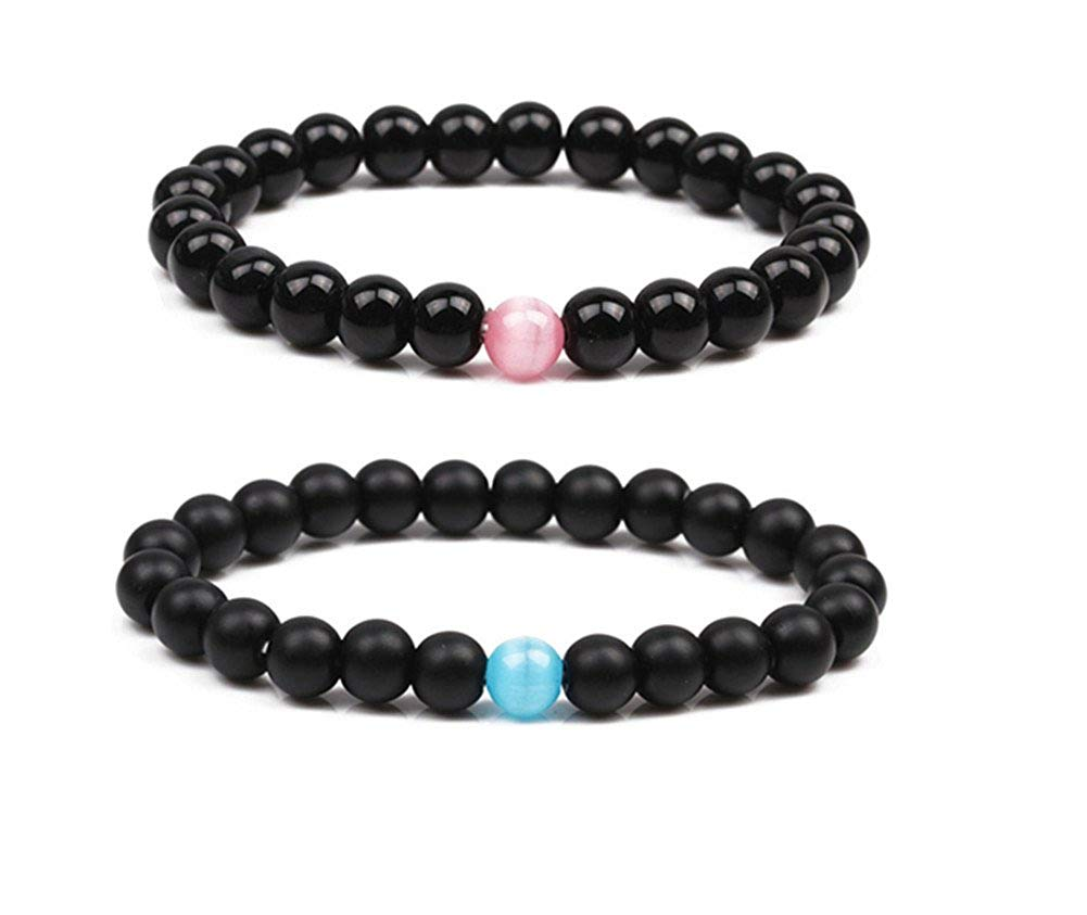 LiFashion LF 2pcs Mens Womens Handmade Gem Semi Precious Pink Blue Opal Natural Stone Beaded Distance Friendship Couple Link Bracelets Sets for Boyfriend Girlfriend Gift