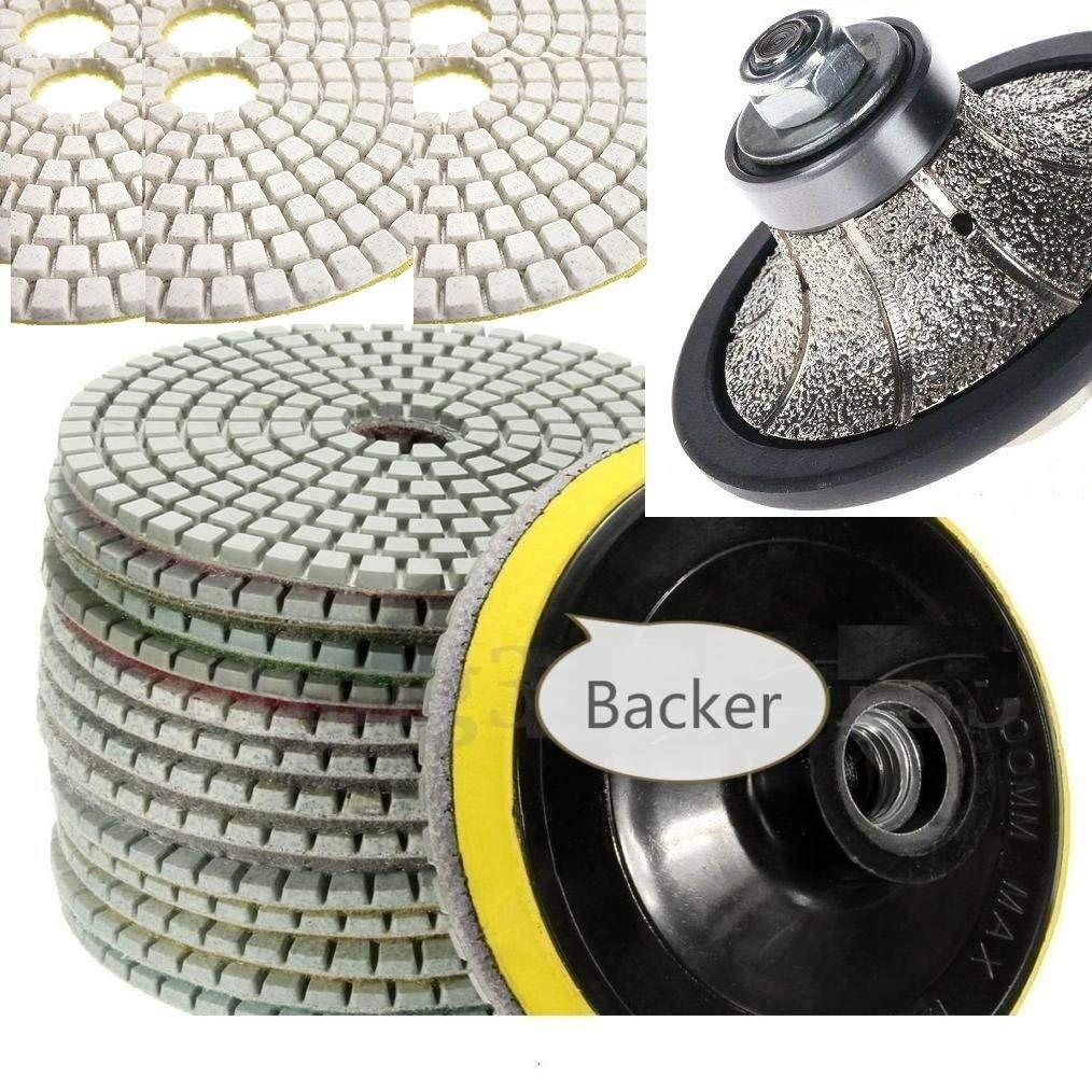 "3/16"" Radius / Roundover Bullnose Diamond Router Bit Profile wheel Granite 6 Inch Polishing Pad 8+1 Concrete Marble Travertine Quartz Masonry Countertops edge stone repair maintenance"
