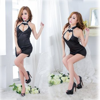 Fantasy sexy black glossy cheongsam mature super hot lingerie for women