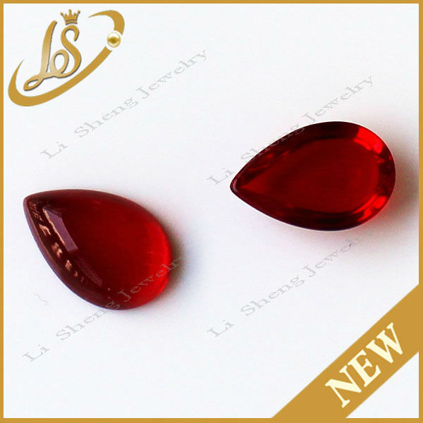 Pear cabochon red glass stone for hair decoration jewelry