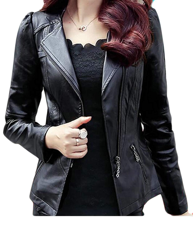 KLJR-Women Vintage Oblique Zipper Lapel Collar Faux Leather Biker Jacket