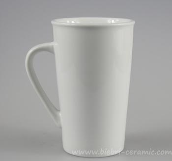 14oz Plain White Tall High Custom Design Ceramic Stoneware Coffee Tea Mugs Set