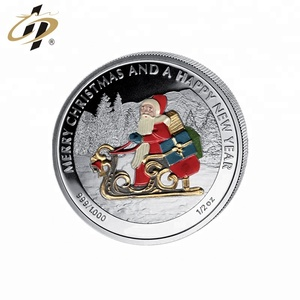 Hot selling Christmas sliver metal sliver coin with custom logo