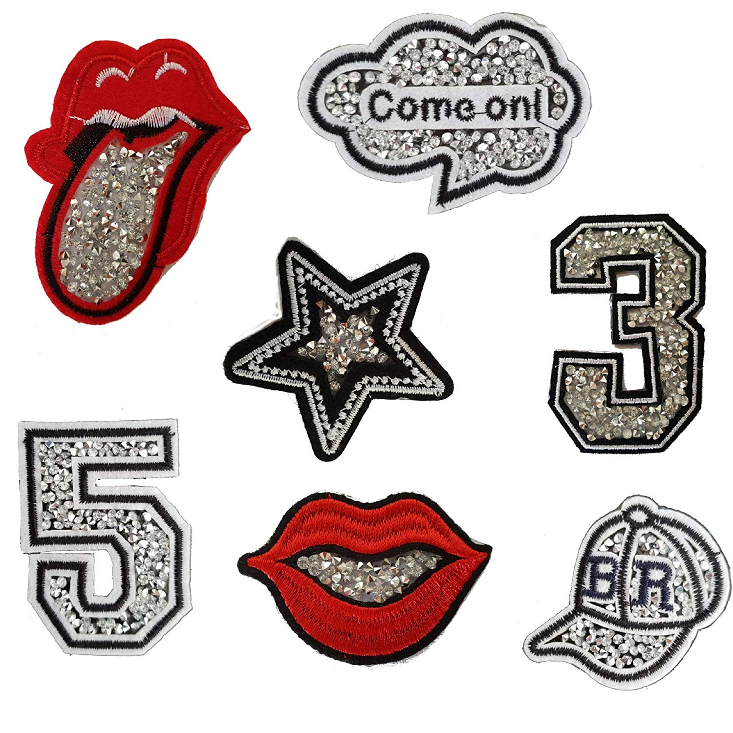 Special100% Iron On Patches Or Sew on 7 Pieces Cool Patches Fabric Embroidered Badge, Crushed Crystals Motif Applique Kit, for DIY Jeans Jacket, Clothing, etc