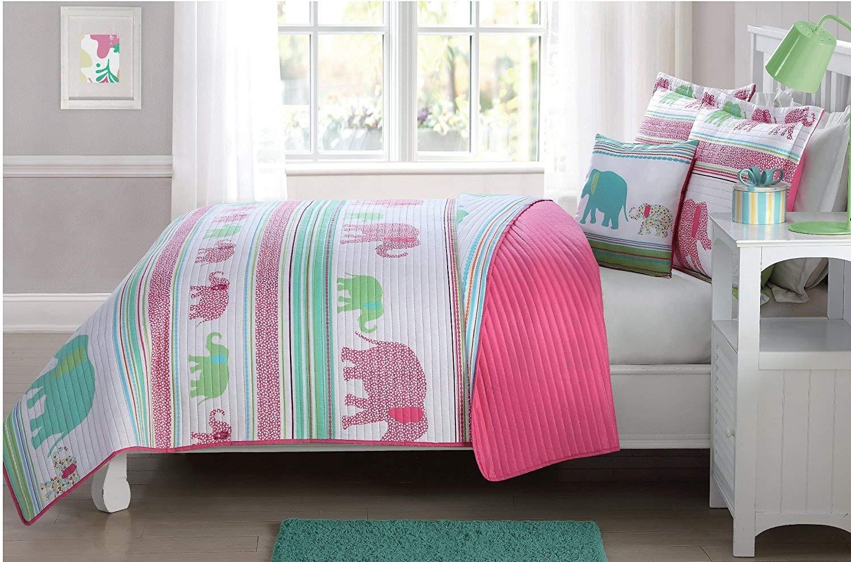 Fancy Linen 4 Pc Full Size Bedspread Coverlet Elephants Pink Green Blue Reversible New # Elephants