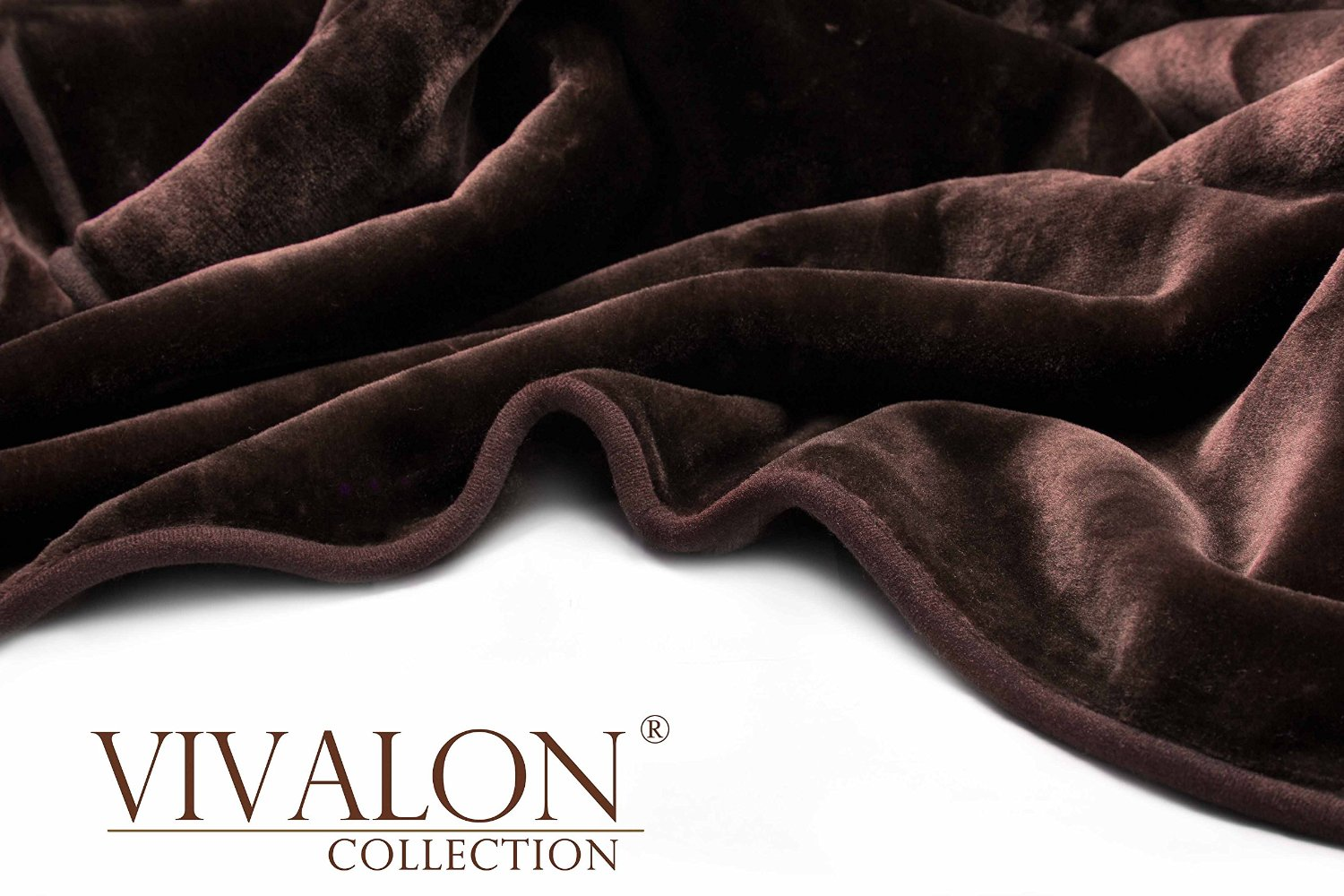 VIVALON Solid Color Ultra Silky Soft Heavy Duty Quality Korean Mink Reversbile Blanket 8 lbs Queen Chocolate Brown