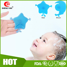 Latest FDA Standard Star And Moon Shape Silicone Body Bath Brush For Babies