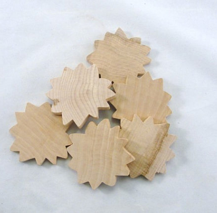 Natural hardwood sunflower cutouts for arts and crafts project