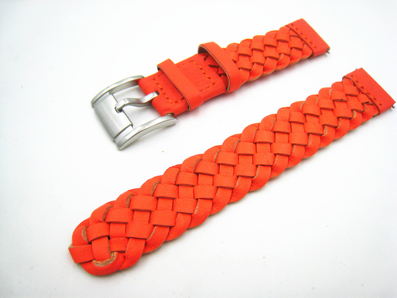 Free Shipping 2015 New Arrived 1PCS High quality Weave Watch Band 18mm Special Genuine Leather Watch Strap Orange