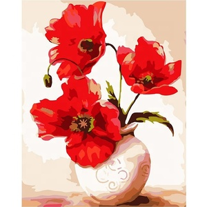 Glass vase poppy flower painting by numbers kits oil diy new designs fabric 40*50cm canvas paint by number