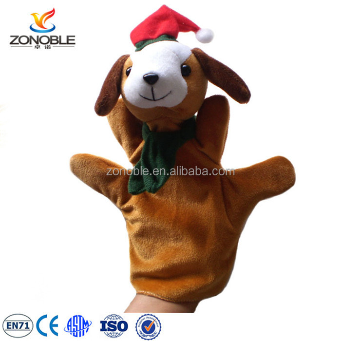 Cheap christmas day gifts cute stuffed soft plush animals with santa hat plush puppet theatre