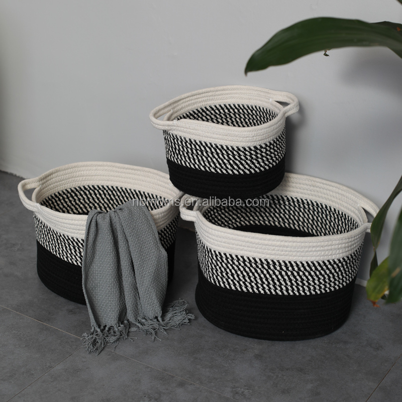QJMAX XXL Large Woven Blanket Storage Foldable Cotton Rope Basket Wholesale For Book Toy And Towel