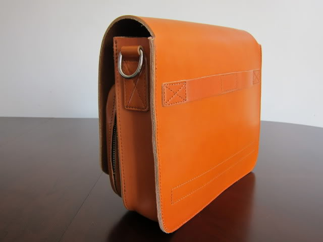Office Men Vegetable Tan Leather Bag Leather Zipper Bag ...