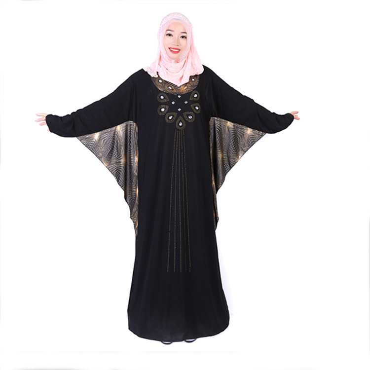 Fashion Knitted Fabric Bat Butterfly Islamic Muslim Abaya Egypt Wholesale