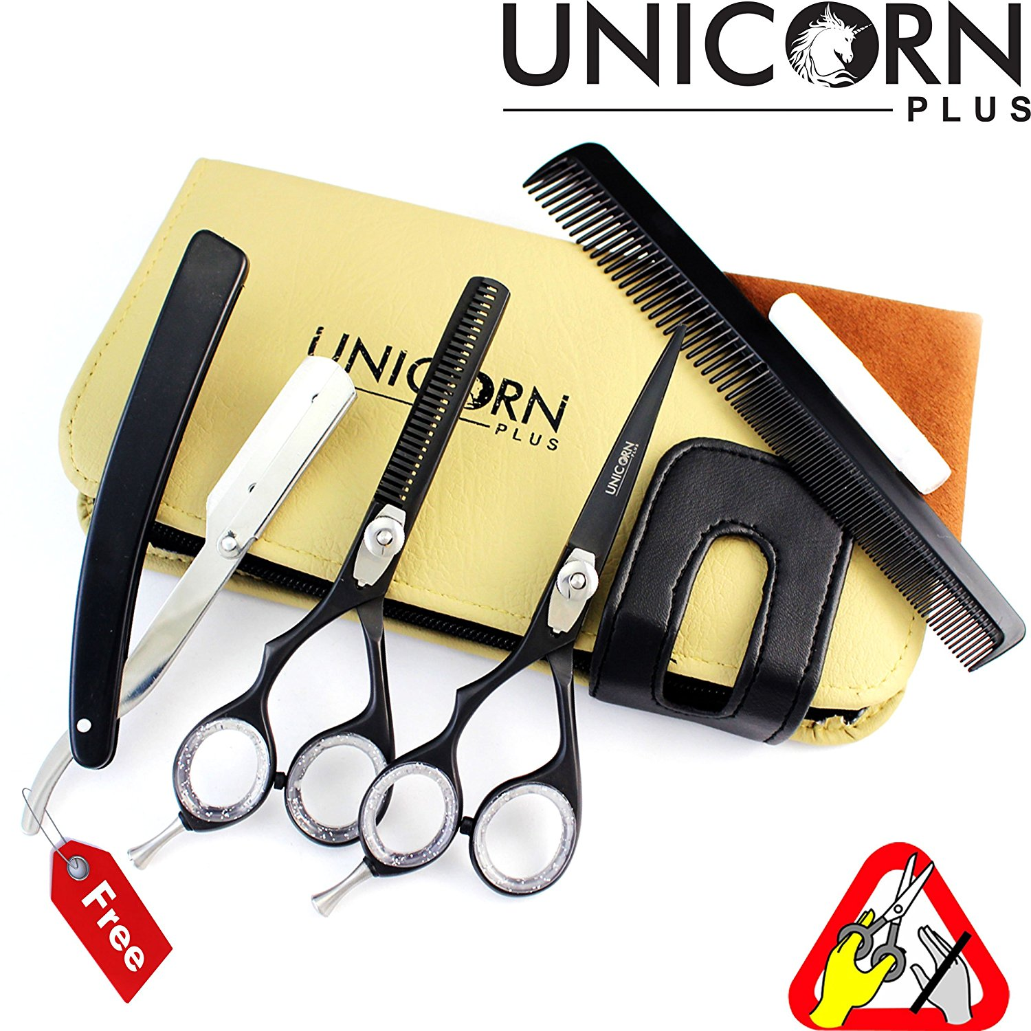"HOT OFFER !! Professional Left Handed Hair Cutting Scissors Set 5.5""- Razor Edge Series - Japanese Steel Scissors (J2) Barber Shears,salon Scissors +Hair Thinning Scissors + FREE Men's Shaving Razor"