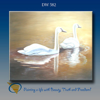 handmade oil painting swans high quality