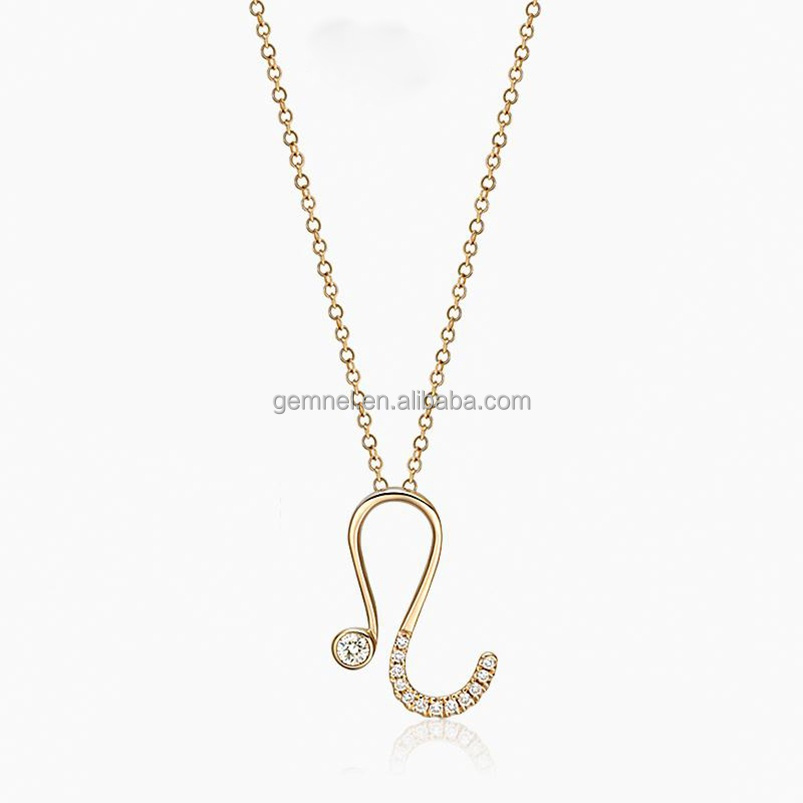 New arrival diamond Leo zodiac yellow gold women necklace 18K jewelry