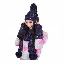 Winter Warm Girl Wool /Scarf/Gloves Set Women Knitted hats