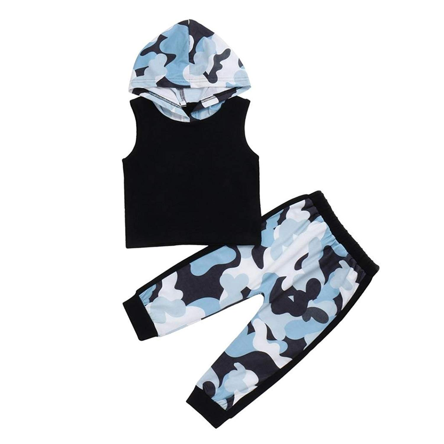 486bab20856 Get Quotations · Moonker Newborn Infant Baby Boys Girls Summer Sets Camo  Print Hoodie Vest Tops and Pants Outfits