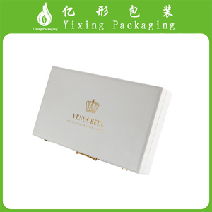 YIXING manufacture white luxury cosmetics box with metallic handles