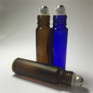 matte brown color 1 3 oz roll-on perfume refill bottle with metal roller