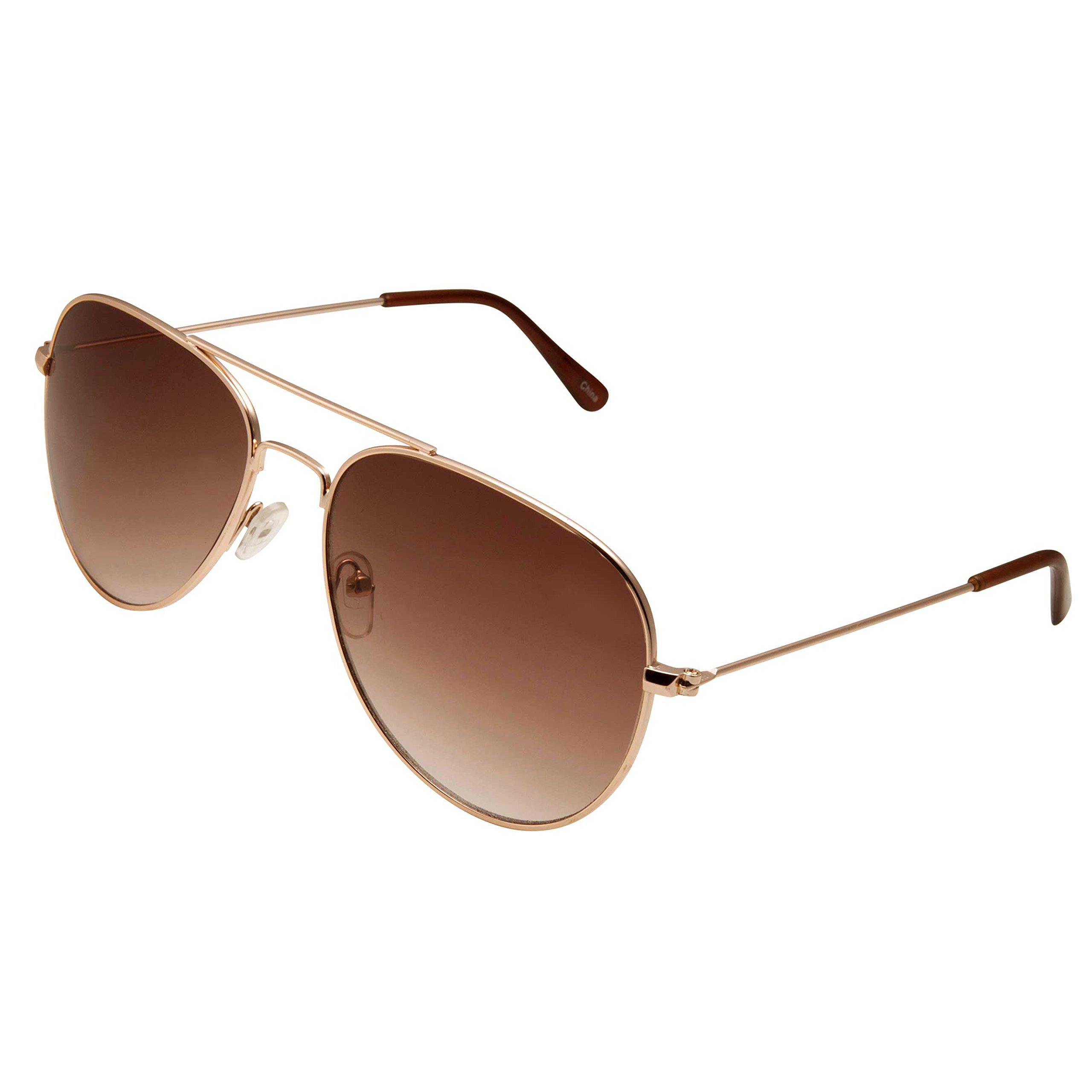 4d5cce9d1c4f8 Get Quotations · grinderPUNCH Classic Aviator Sunglasses Normal Fit in Gold  Frame with Brown Lens