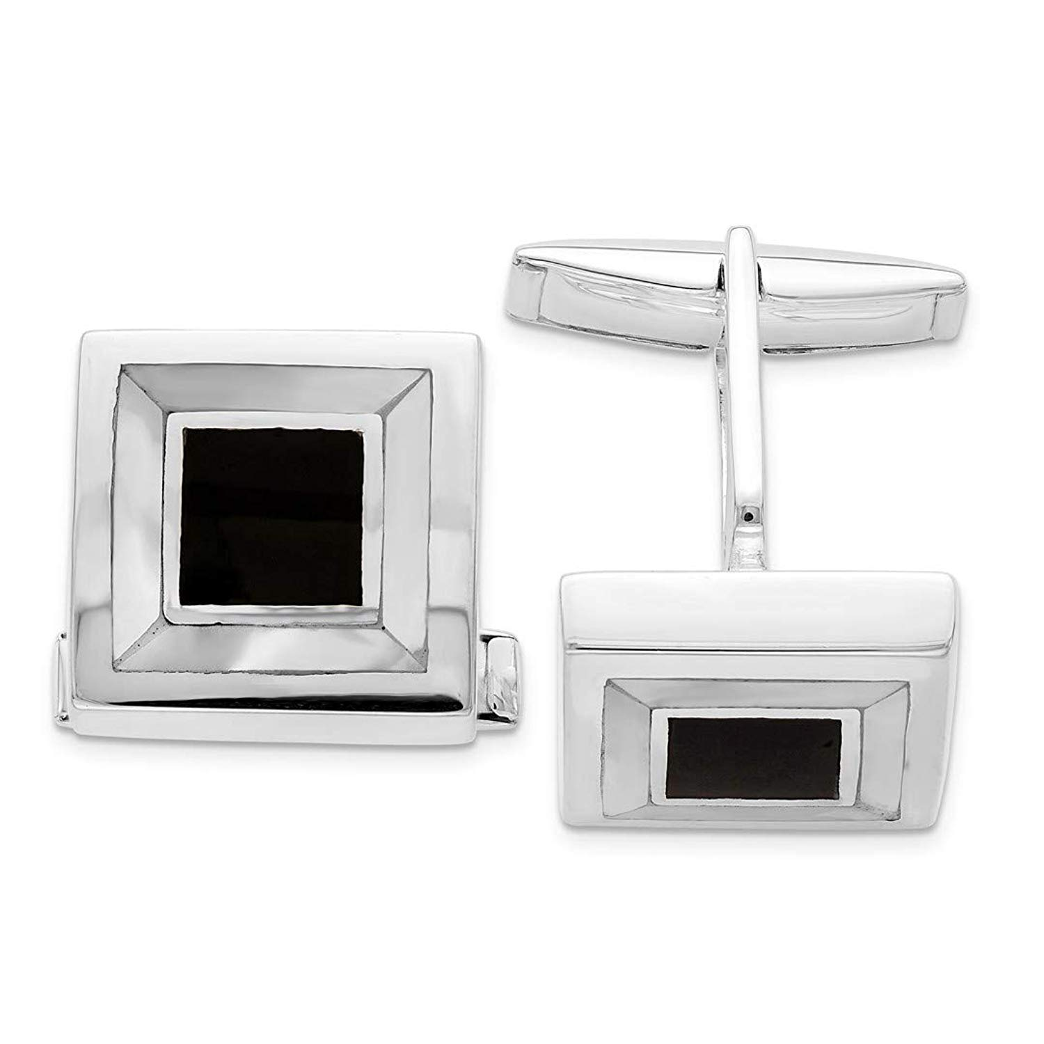 Silver//White Orton West Mens Silver Plated Mother of Pearl Chain Link Cufflinks