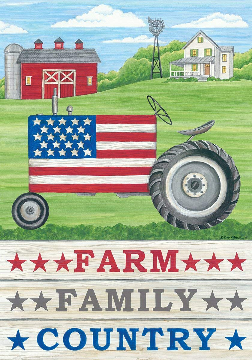Patriotic Farm Family Country - Garden Size, 12 Inch X 18 Inch, Decorative Double Sided Licensed, Trademarked and Copyrighted Flag Printed IN USA by Custom Decor Inc.